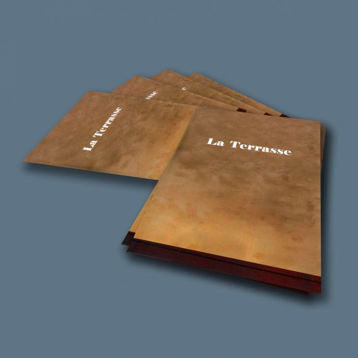 Création d'une couverture imitation cuir pour un restaurant pas cher - Hervé Roux, Infographiste Print & Web