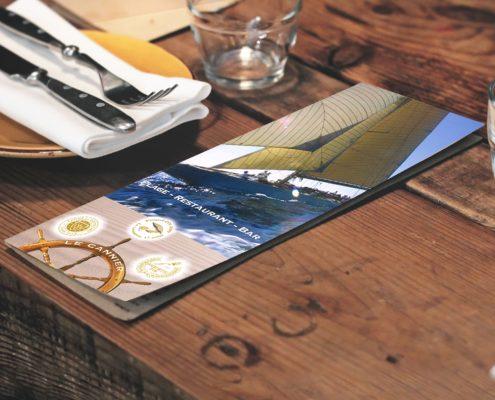 Création d'une carte de restaurant, Saint-Tropez, Var, France | Hervé Roux, Infographiste Print & Web en Freelance en Vendée, Pays de La Loire, France