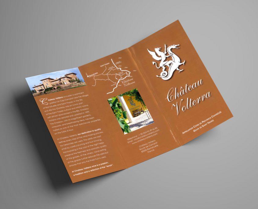Création d'un dépliant 3 volets pour le vignoble Château Volterra, Saint-Tropez, Var, France | Hervé Roux, Infographiste Freelance Print & Web en Vendée