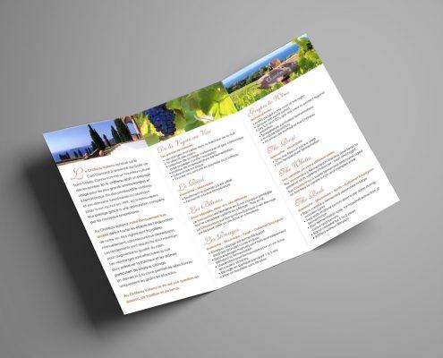 Création d'un dépliant 3 volets pour le vignoble Château Volterra, Saint-Tropez, Var, France | Hervé Roux, Infographiste Print & Web en Vendée