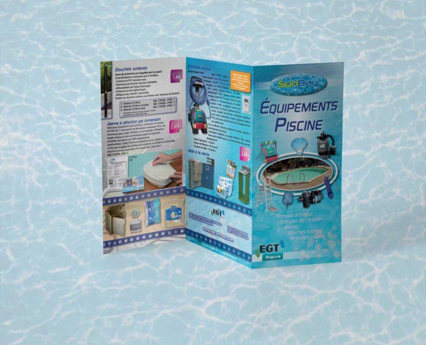 Création d'un dépliant pour équipements de piscine pas cher - Hervé Roux, Infographiste Print & Web en Vendée