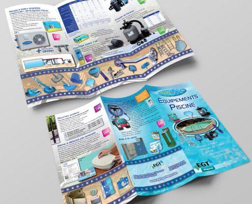 Création d'un dépliant pour équipements de piscine, devis gratuit - Hervé Roux, Infographiste Print & Web en Freelance en Vendée, Pays de La Loire, France