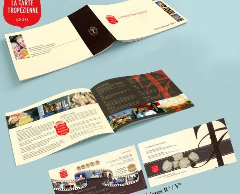 Création d'un dépliant 2 volets + 1 encart pour la Tarte Tropézienne, Saint-Tropez, Var, France | Hervé Roux, Infographiste Print & Web en Vendée