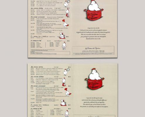 Création d'un dépliant 2 volets pour des cours de cuisine pas cher - Hervé Roux, Infographiste Print & Web en Freelance en Vendée, Pays de La Loire, France
