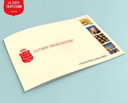Création d'un dépliant 2 volets pour la Tarte Tropézienne, Saint-Tropez, Var, France | Hervé Roux, Infographiste Print & Web en Vendée